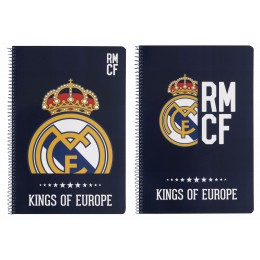 Real Madrid Blue Libreta Folio Tapa Dura