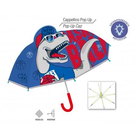 Paraguas Azul Dinosaurio con Gorra